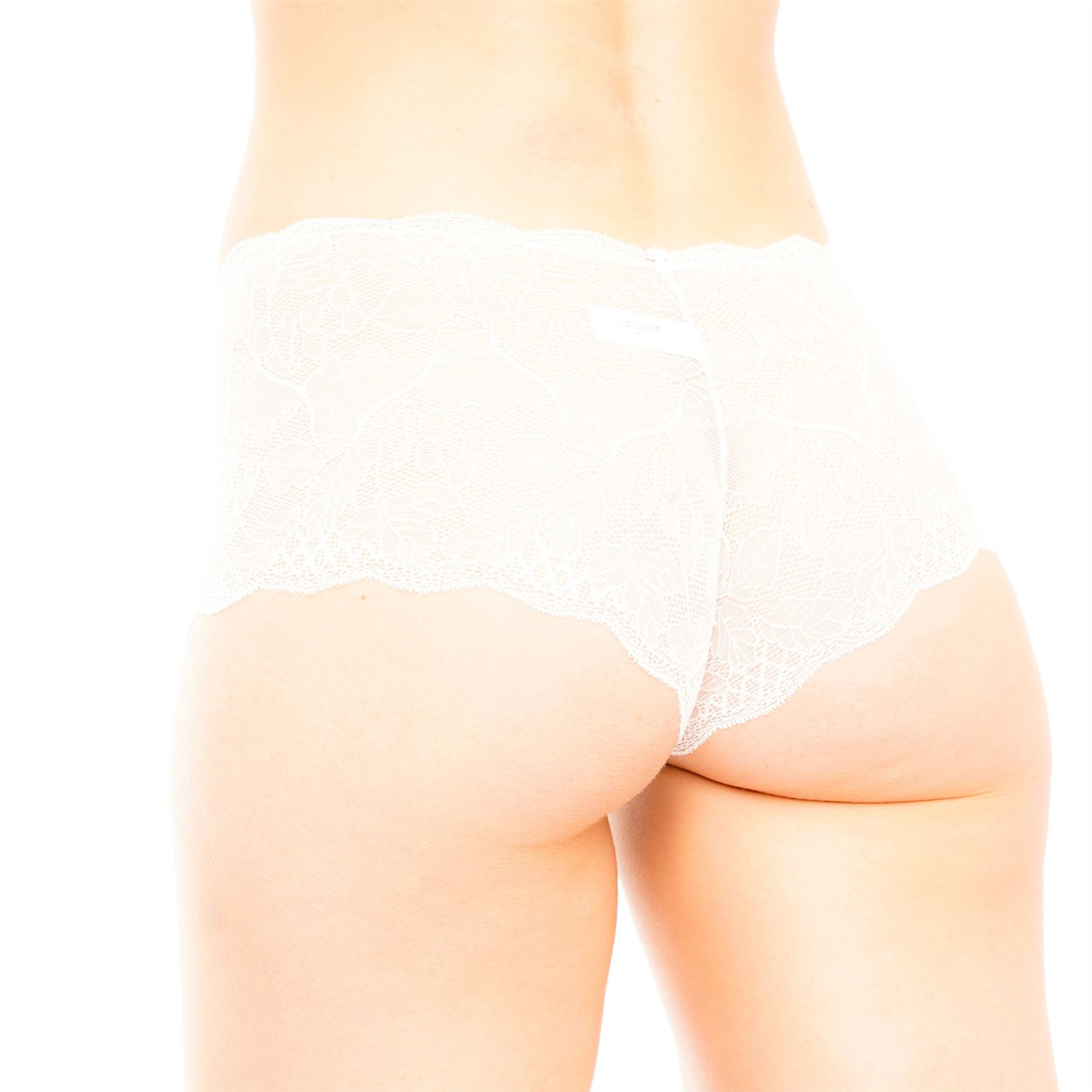 Womens Ladies All Over Lace Seamless Boxer Short See Thru Brief Underwear Panty