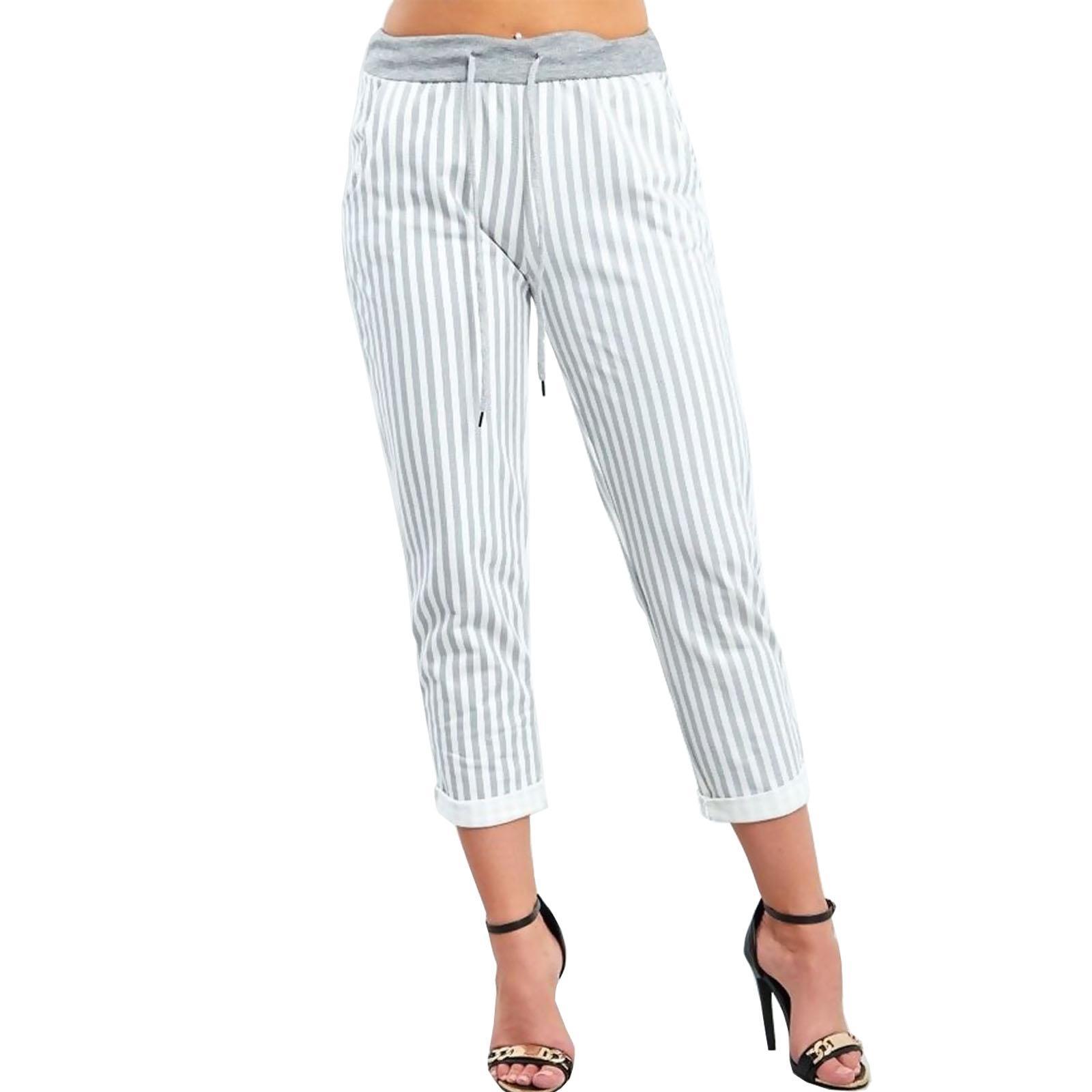 Womens Turn Up Loose Fit Cropped Hoop Trouser Ladies Tartan Stripes Pants Bottom