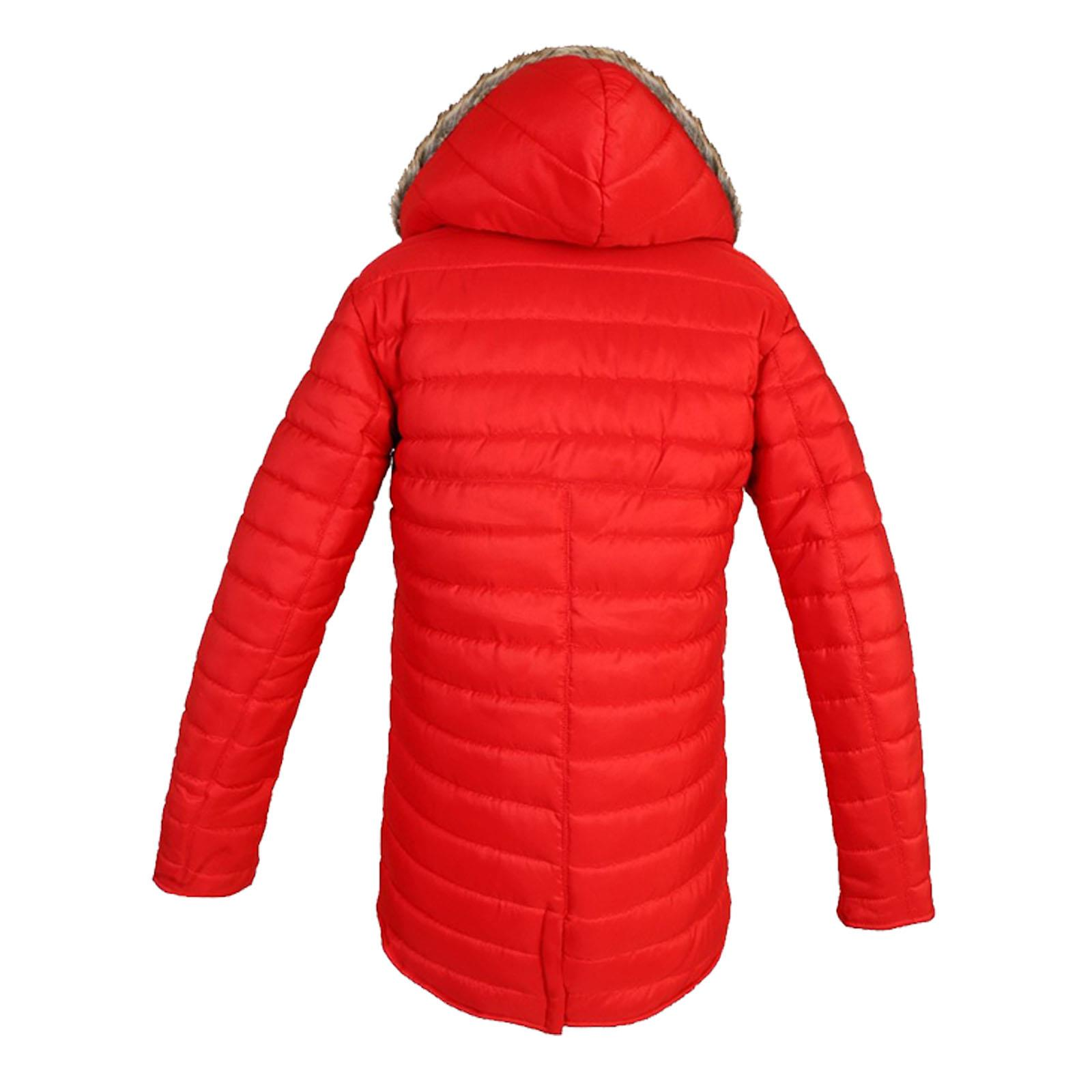 Women Faux Fur Quilted Padded Puffer Jacket Ladies Warm Zip Up Hooded Parka Coat