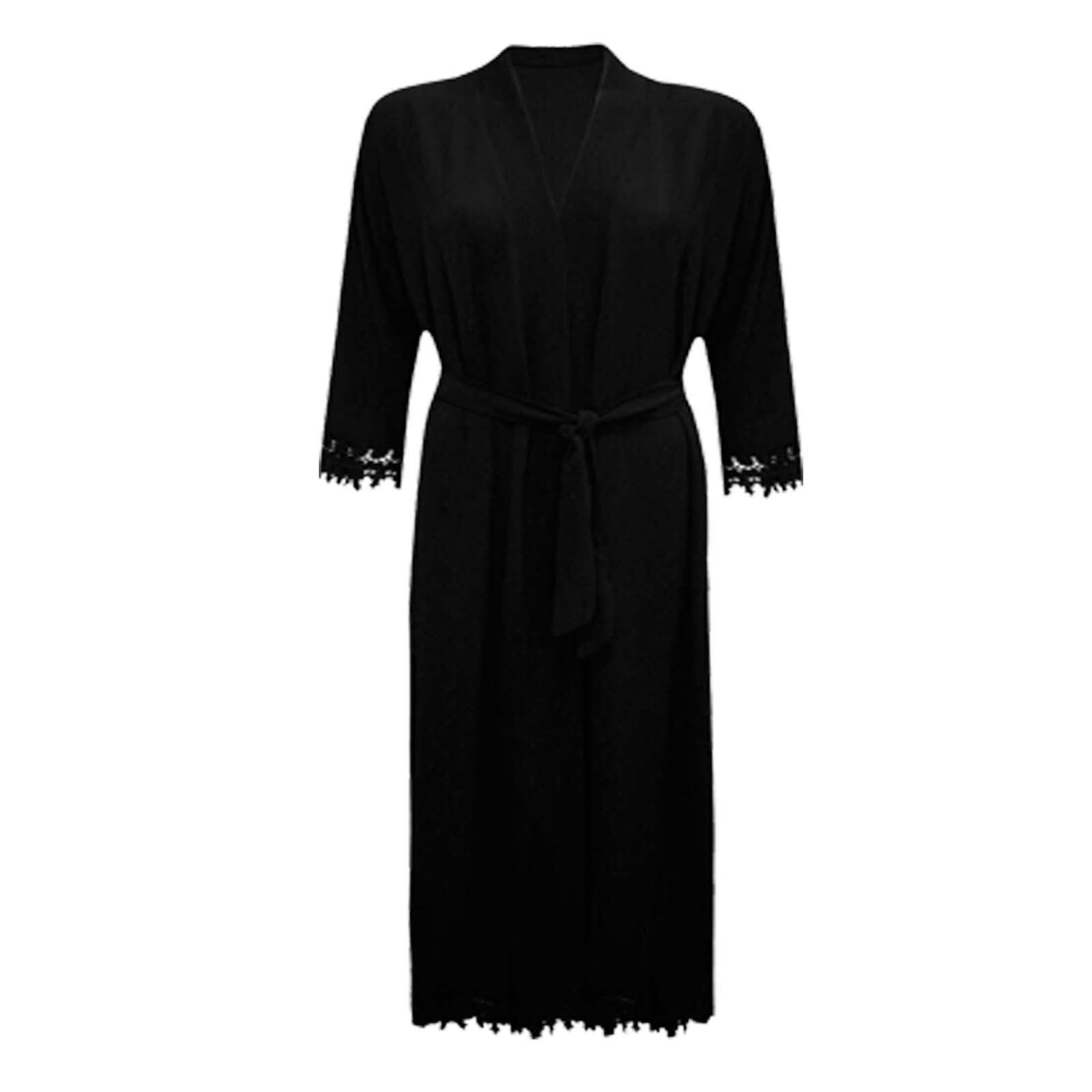 Womens Ladies  Lace Belted Long Sleeve Abaya Style Kimono Pleated Maxi Cardigan