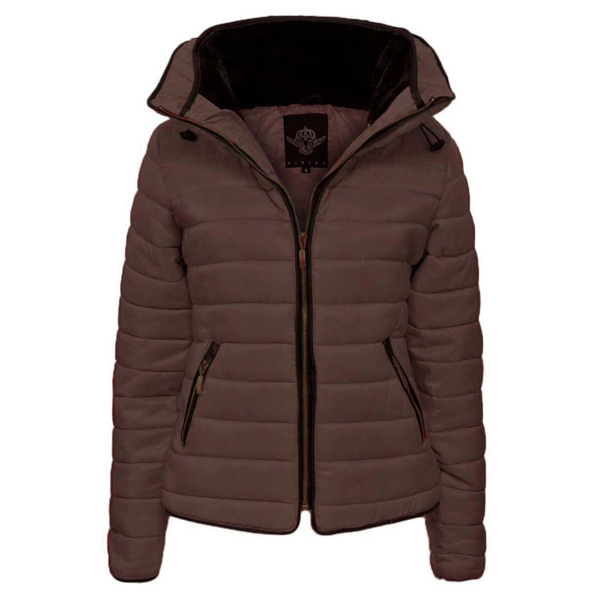 Womens Padded Quilted Bubble Puffer Hooded Jacket Ladies Thick Zip Up Parka Coat