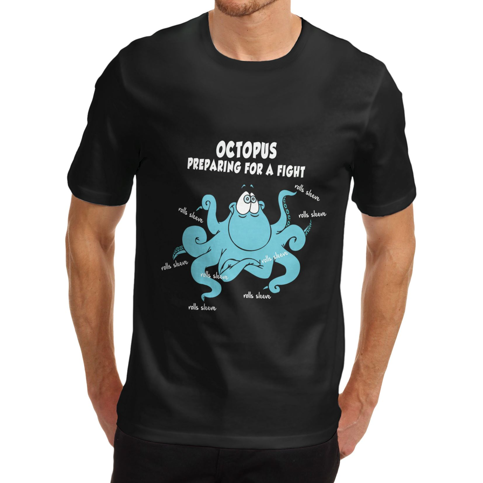 Men/'s Octopus Preparing For A Fight Cotton Novelty Funny T-Shirt