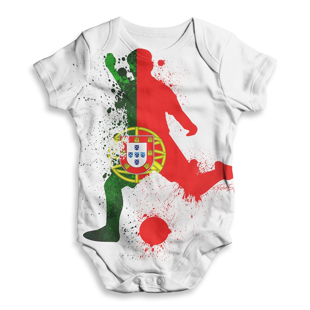 Impresión de todas partes Bebé Body Fútbol silueta Portugal babygrow