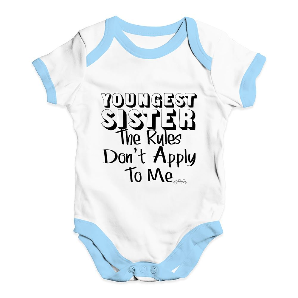 Twisted Envy Youngest Sister Rules Baby Unisex Funny Baby Grow Bodysuit