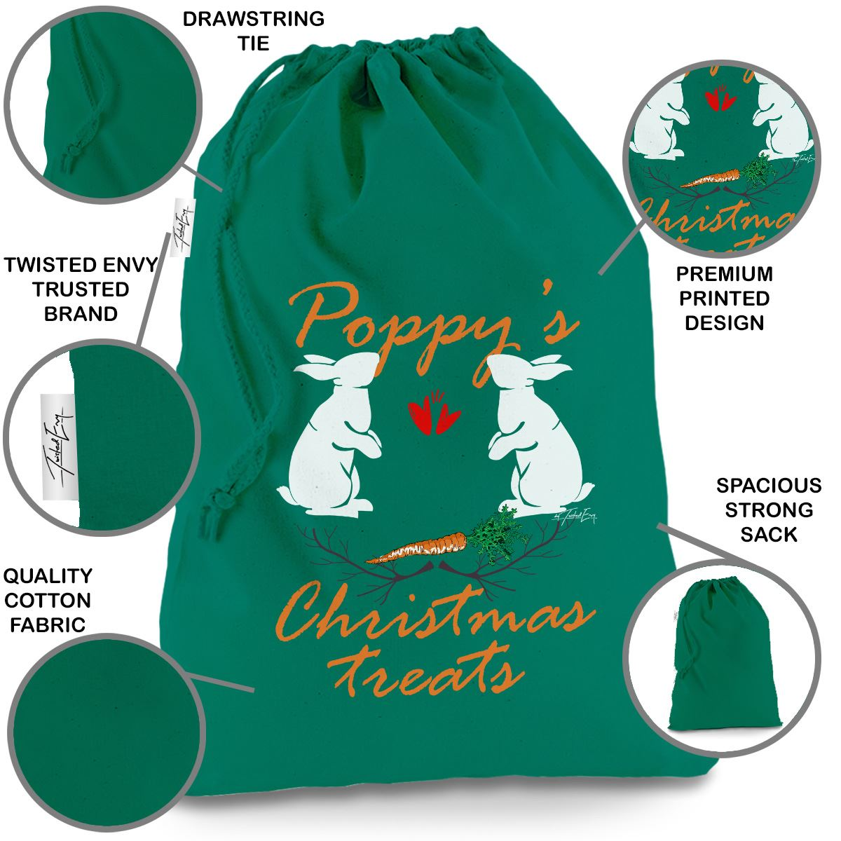 Pet Rabbit Christmas Treats Carrot Personalised Green Christmas Santa Sack Bag