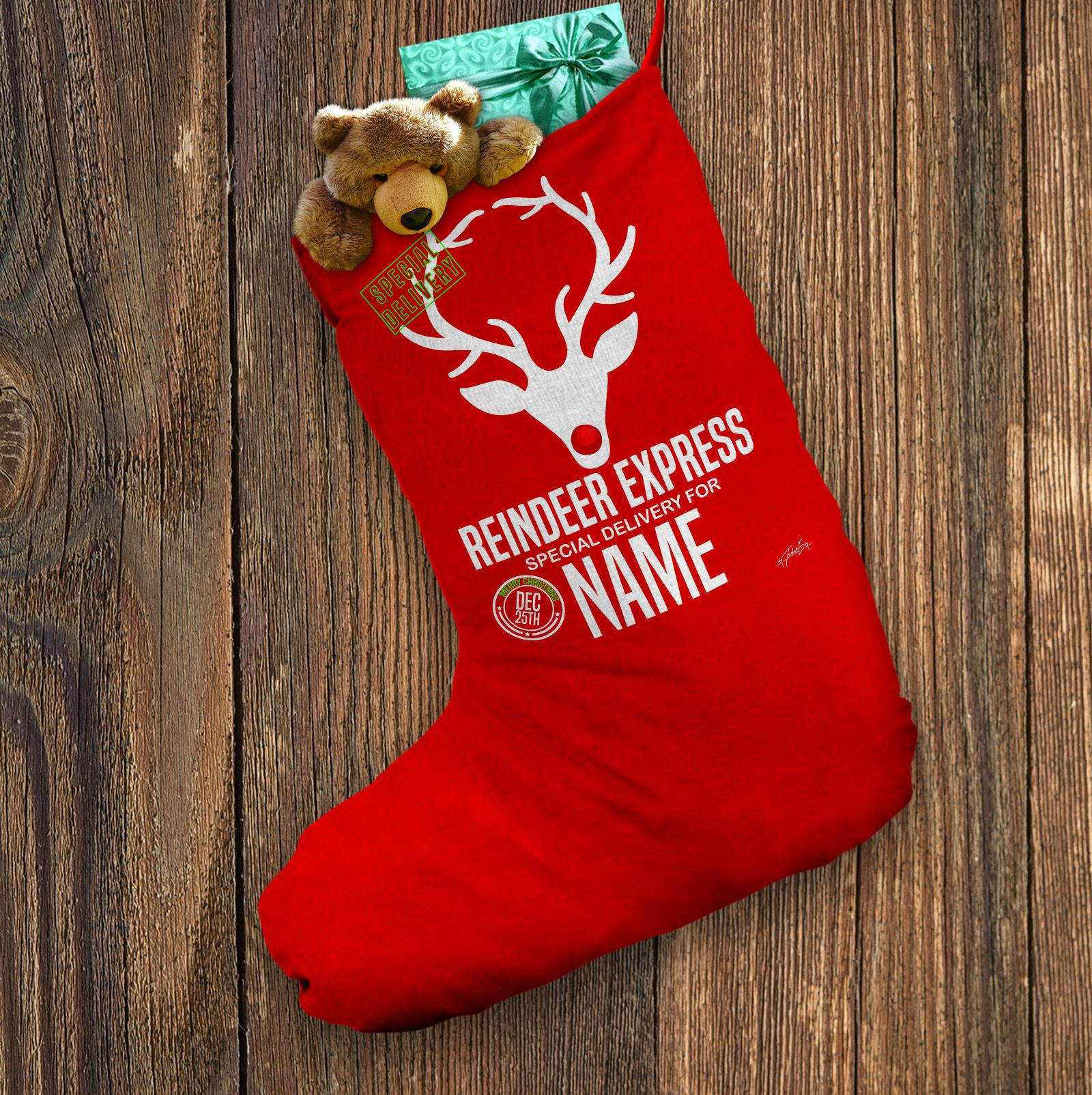 Personalised Santa Christmas Stocking Reindeer Express Delivery Red