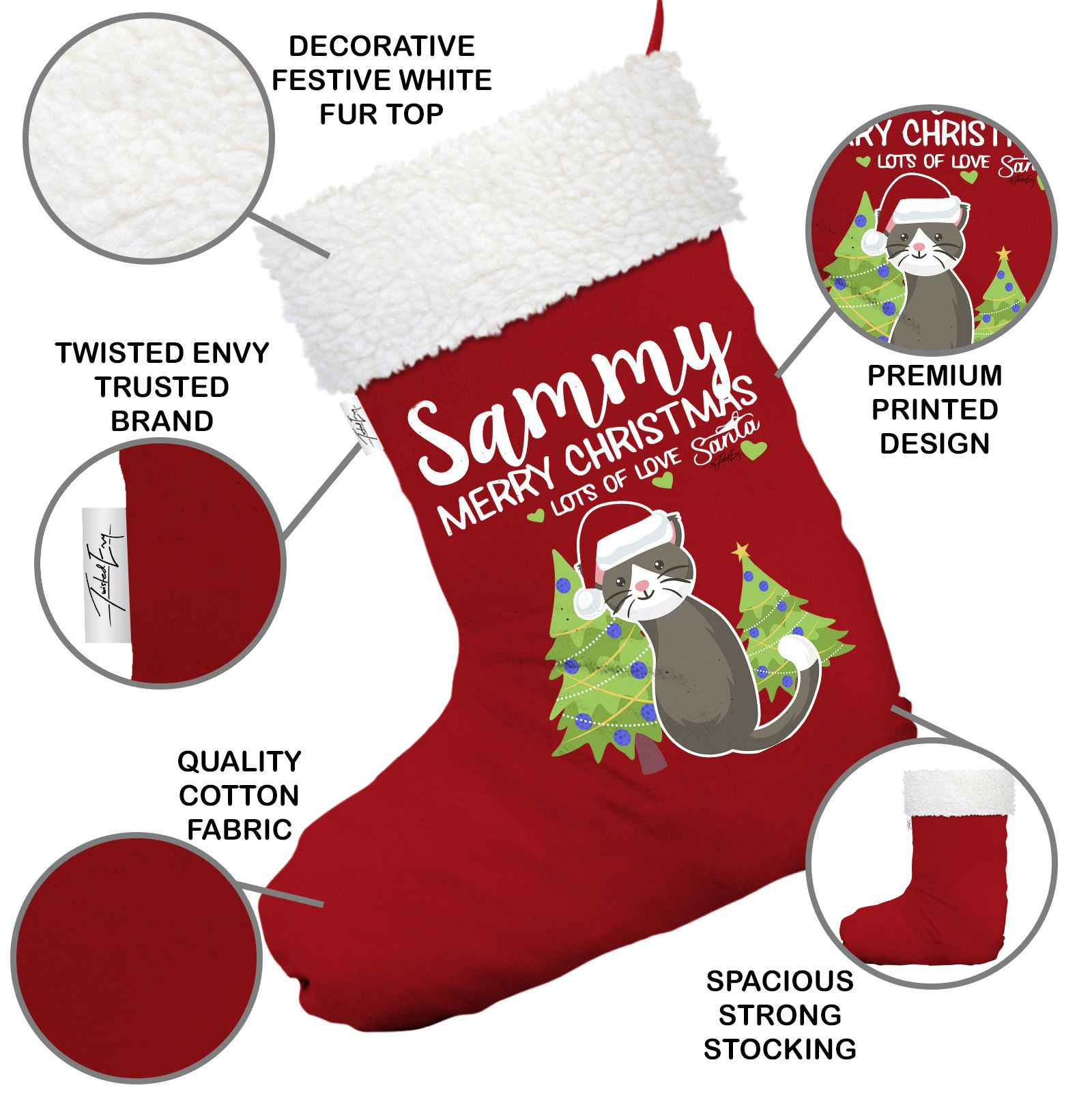 Merry Christmas Cat Trees Personalised Red Christmas Stocking White Trim