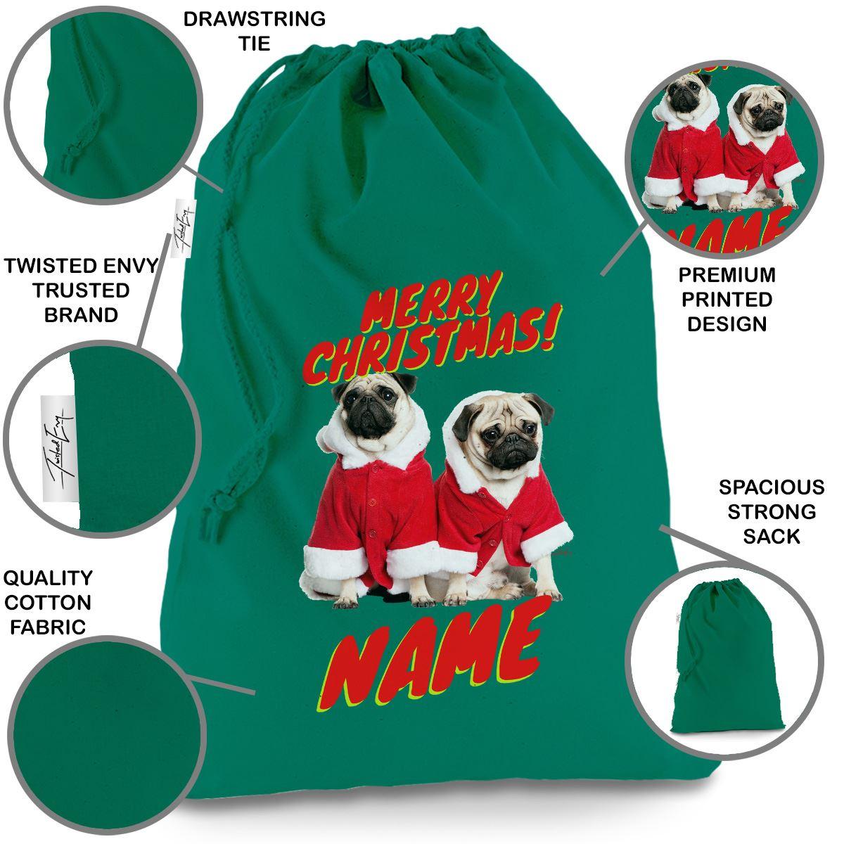 Personalised Santa Costume Pugs Green Luxury Christmas Santa Sack