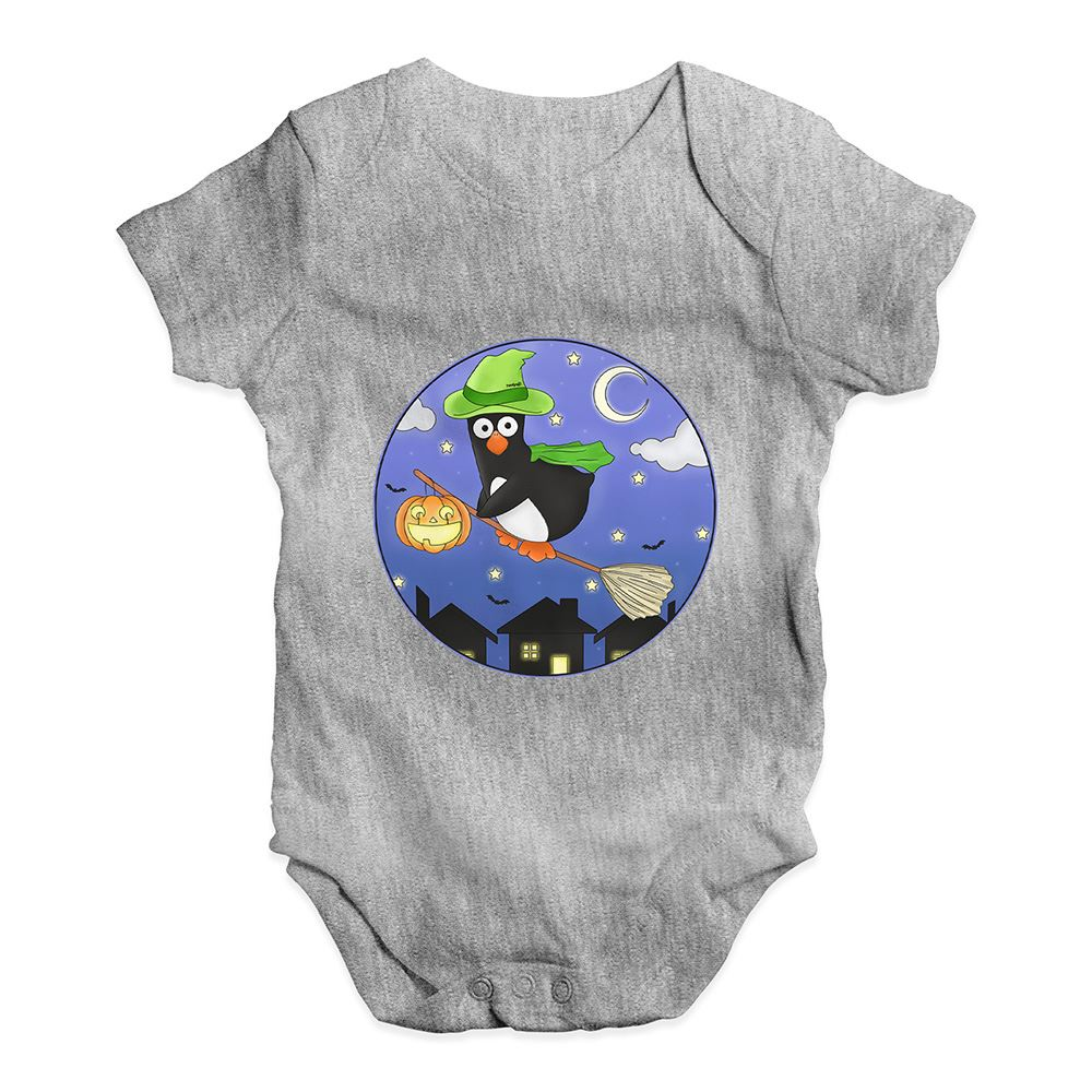 Halloween Witch Guin The Penguin Baby Unisex Funny Baby Grow Bodysuit