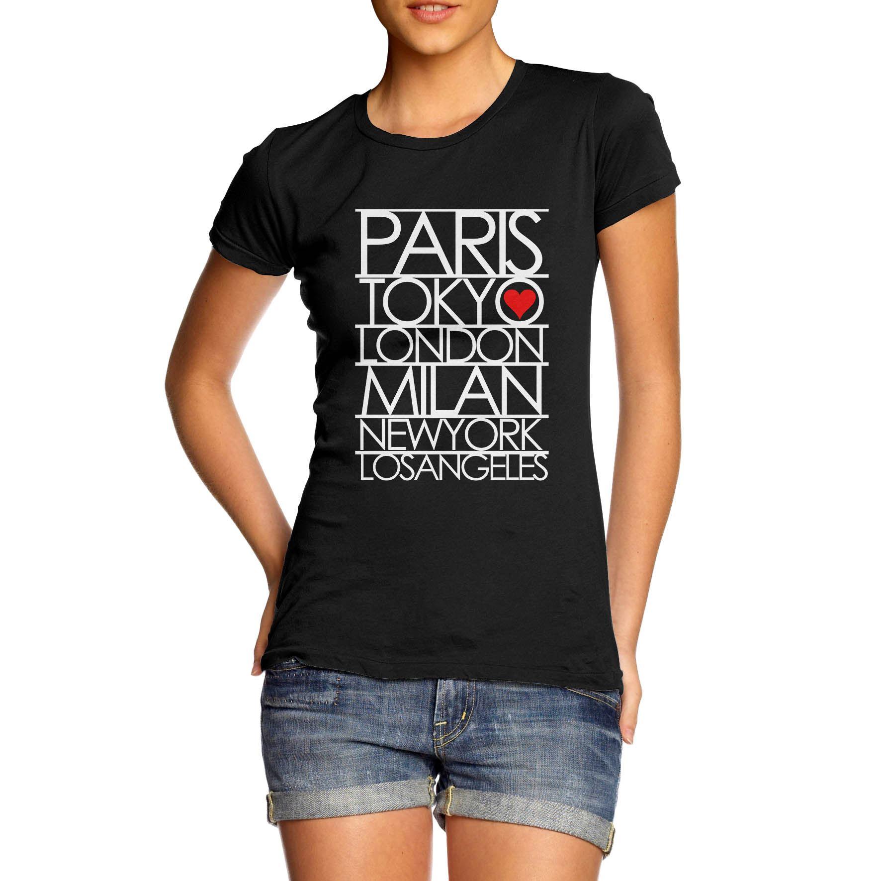 Women/'s Paris Tokyo London Fashion Capitals T-Shirt