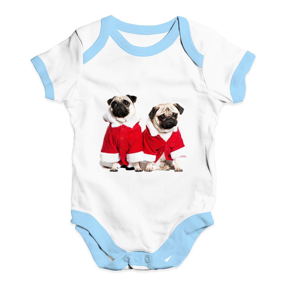 Twisted Envy Christmas Pugs Santa Baby Unisex Funny Baby Grow Bodysuit