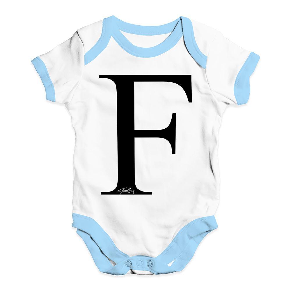 Twisted Envy Alphabet Monogram Letter F Baby Unisex Funny Baby Grow Bodysuit