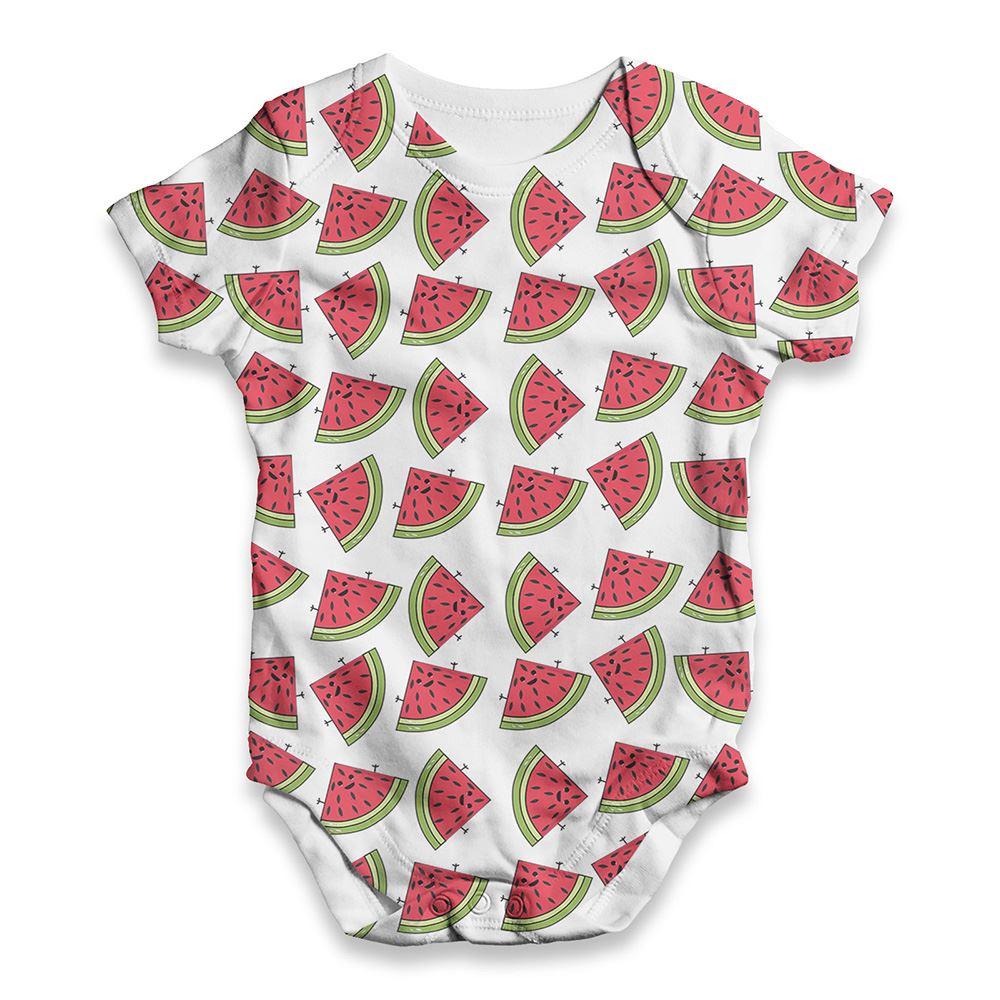 Funny Infant Baby Velvet Watermelon Pattern Unisexe ALL-over Print Babygrow