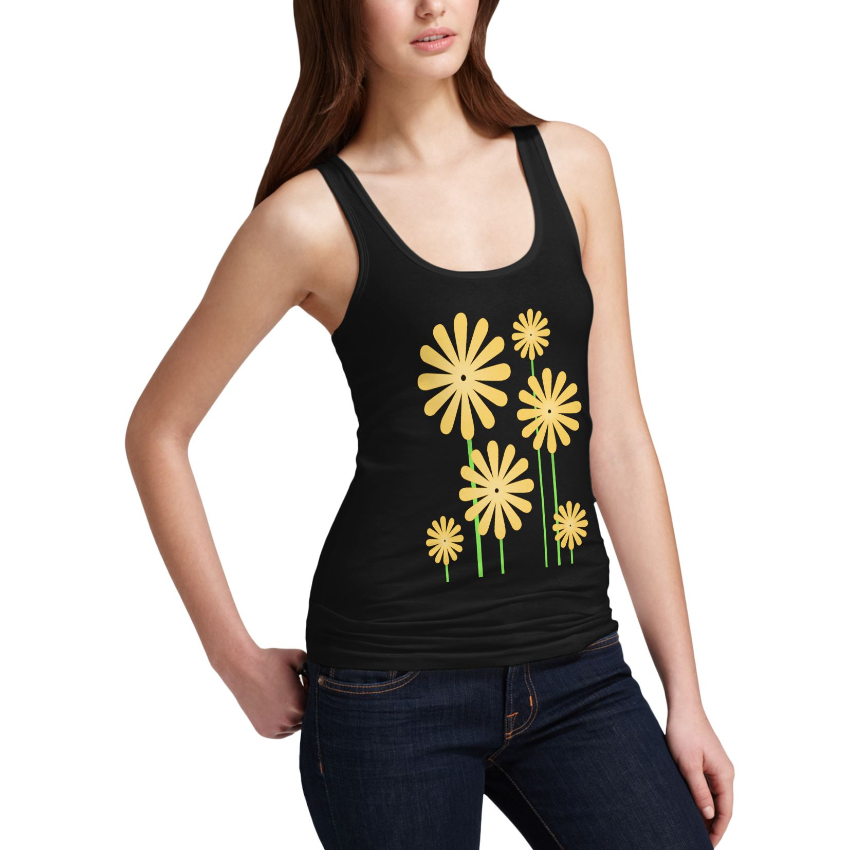 Twisted Envy Women/'s Yellow Flowers Novelty Tank Top