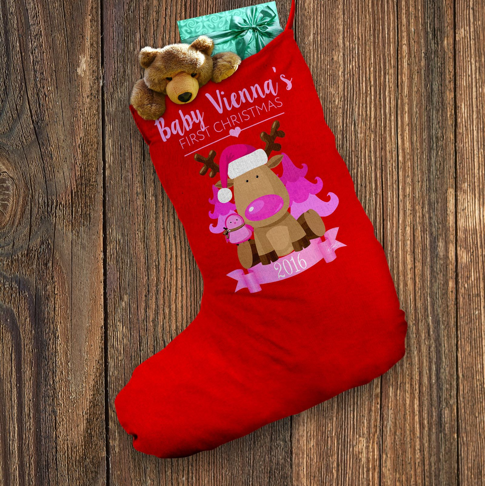 Personalised Santa Christmas Stocking Merry Christmas Pink Baby Red