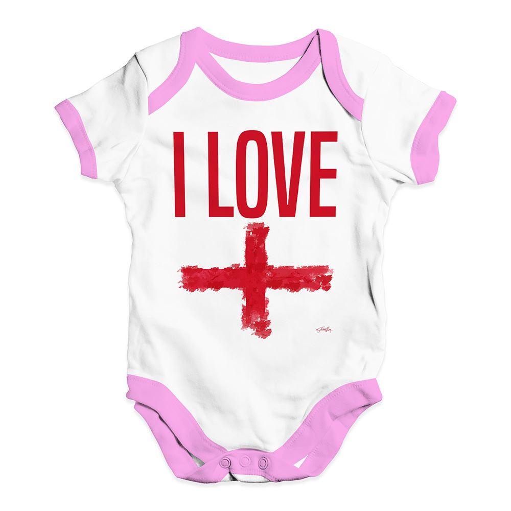 Twisted Envy I Love England Baby Unisex Funny Baby Grow Bodysuit