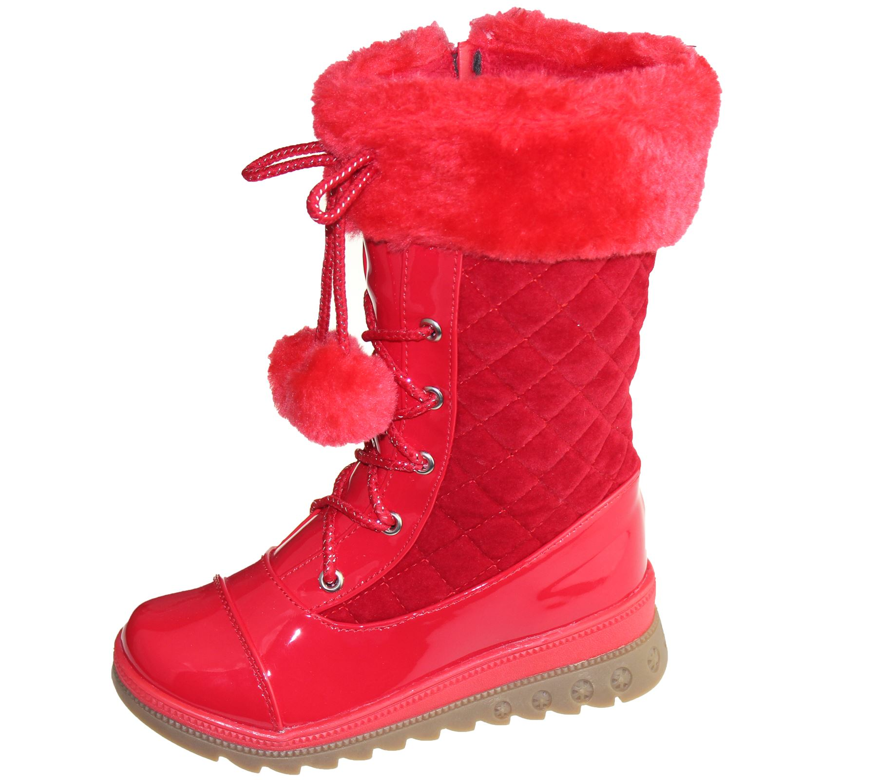 Girls Warm Linned Boots Pom Pom Winter Christmas High Top Qulted Ankle Shoes