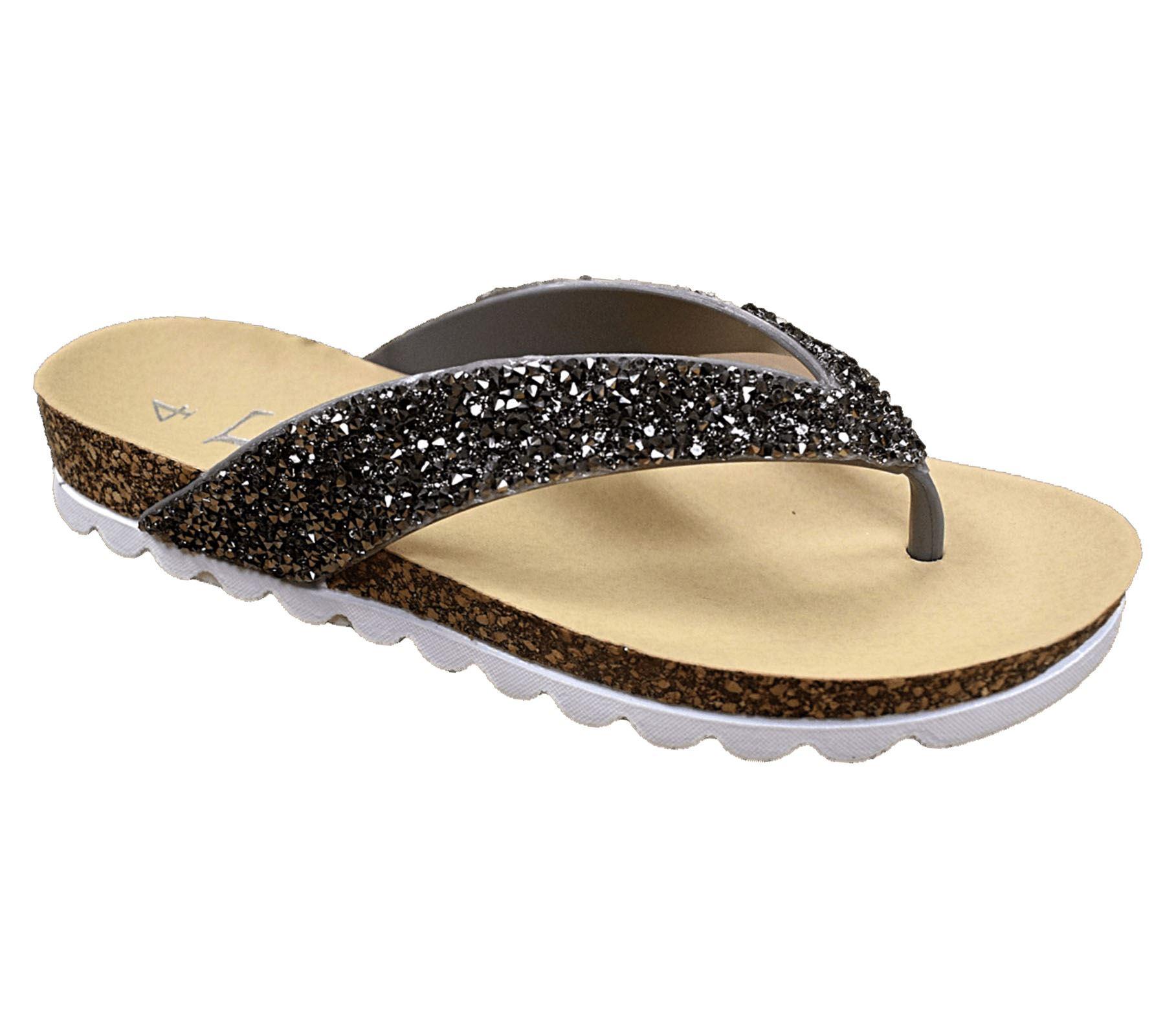 Womens Casual Toe Post Sparkly Sandals Ladies Summer Flip Flops Sliders Mules