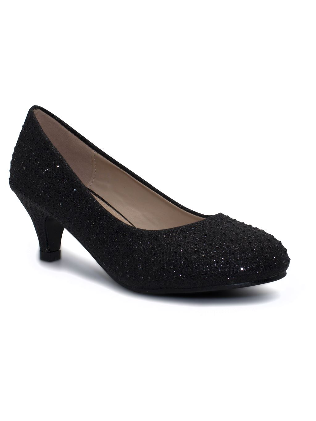 Girls Shoes Party Bridesmaid Glitter Diamante Wedding Low Heel Shoes
