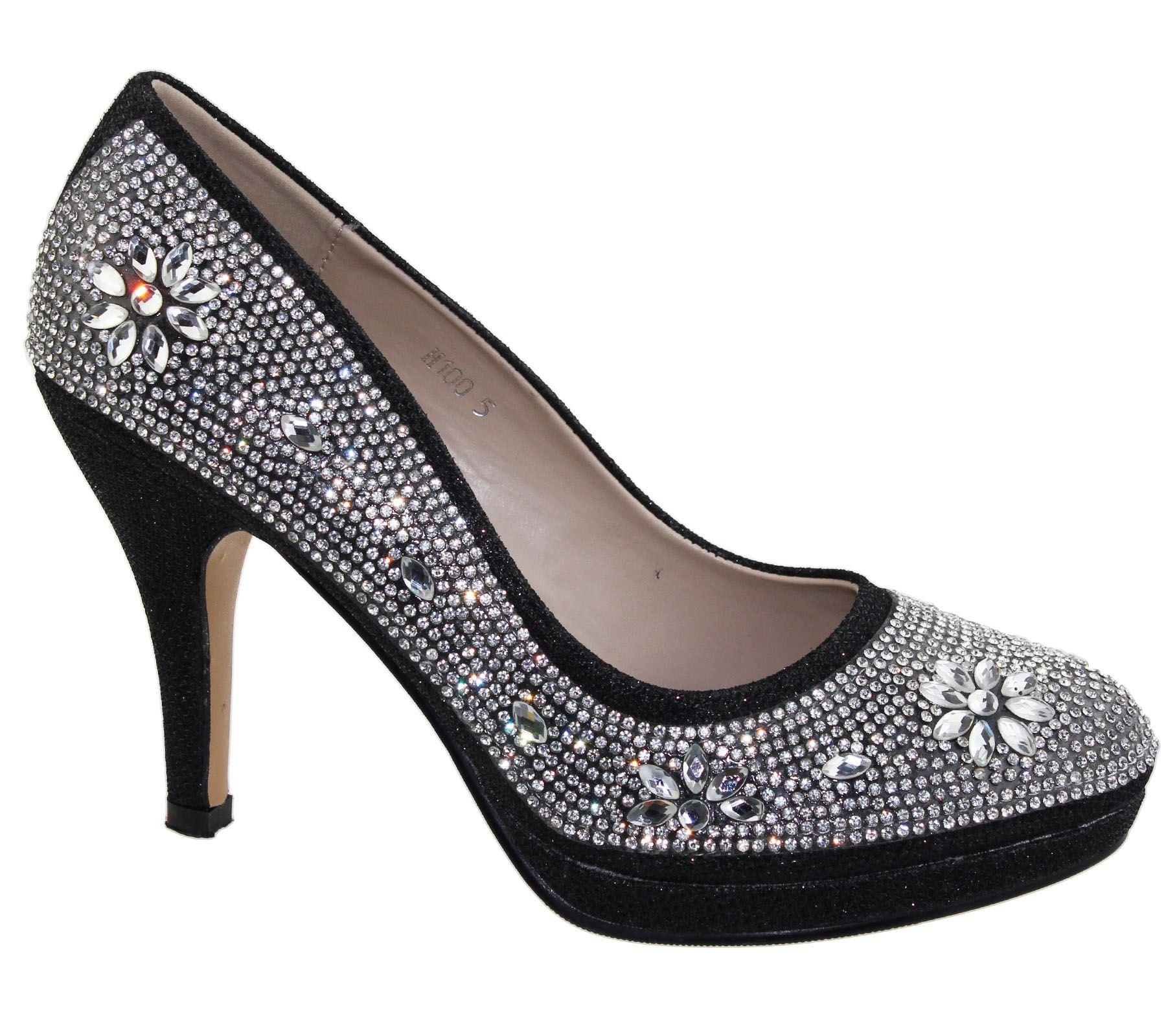 Para Mujer Plataformas Tacones Altos Boda Nupcial Noche Diamante Partido de las Señoras Zapatos