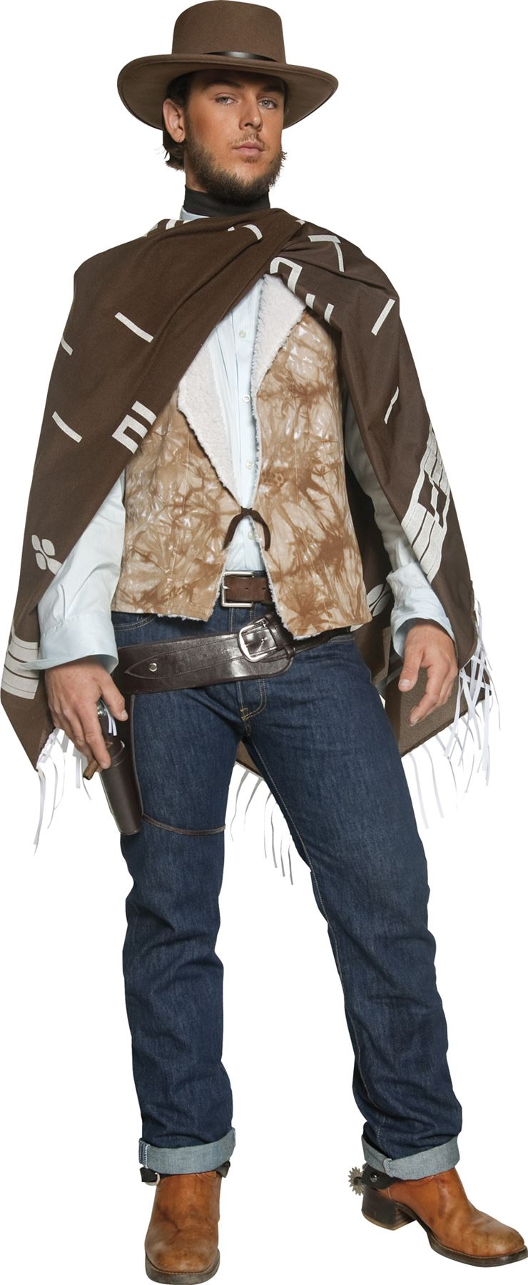 Homme Western Cowboy errant tireur COSTUME ROBE FANTAISIE Clint Eastwood poncho