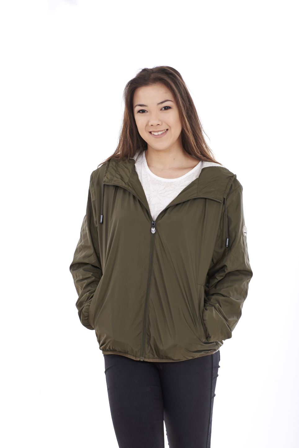 Ladies Hooded Jacket Plain Cotton Lining Lightweight Casual outwear S to XXL