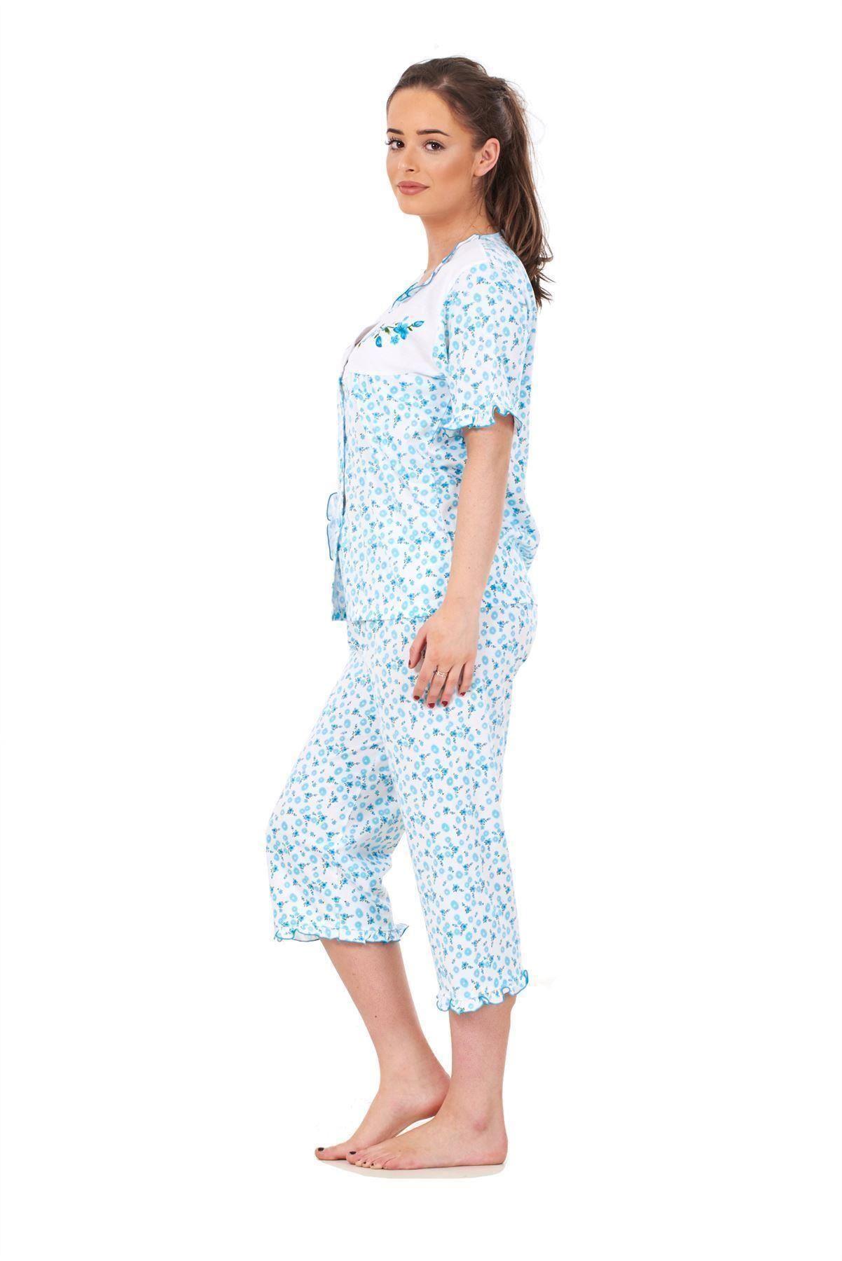 Donna Pigiama Set 3//4 lunghezza manica corta cotone tasca morbida Nightwear M a XXL