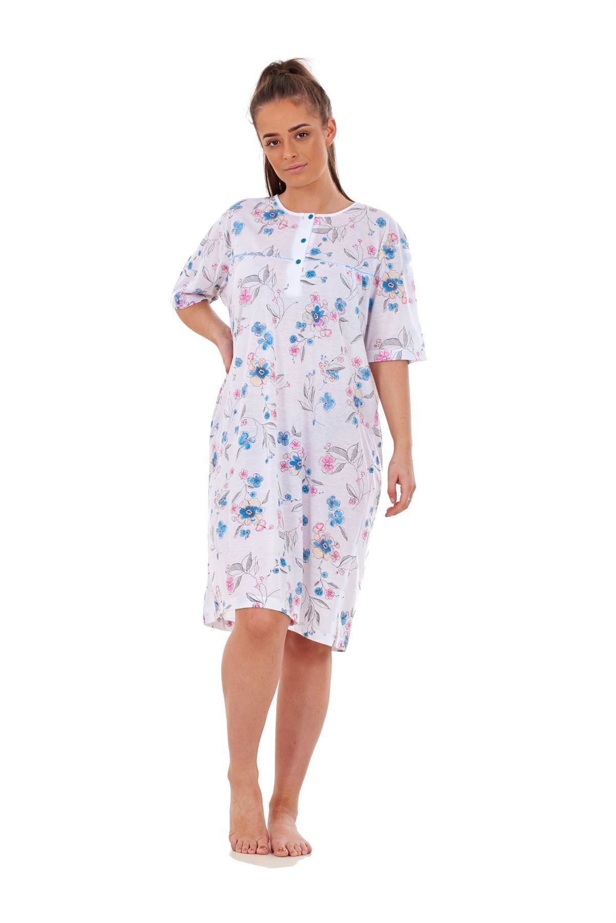 Ladies Nightwear 100/% Cotton Short Sleeve button Blue Floral Nightshirt M to 3XL