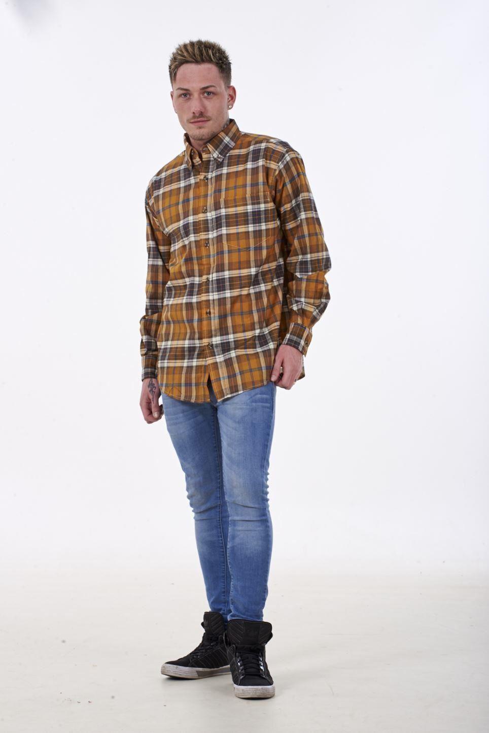 Mens Checked Shirt Malay Apparel Cotton Casual Wear Long Sleeve Button Top M-2XL