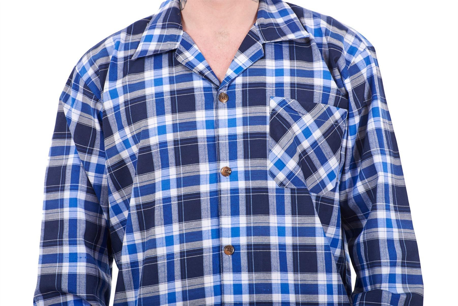 Mens Pyjama Set Yarn Dyed Woven Check Cotton Blend Loungewear Regular Big Size