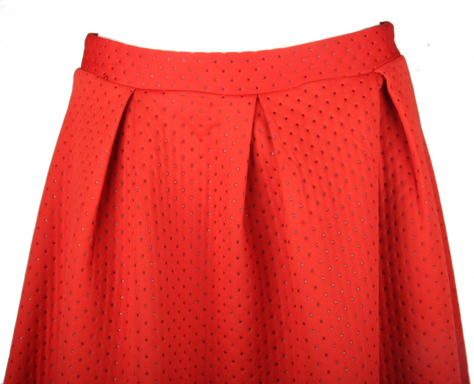 Womens Ladies Thick Pleated Zip Up Microdot Knee Length Warm Winter Skirt