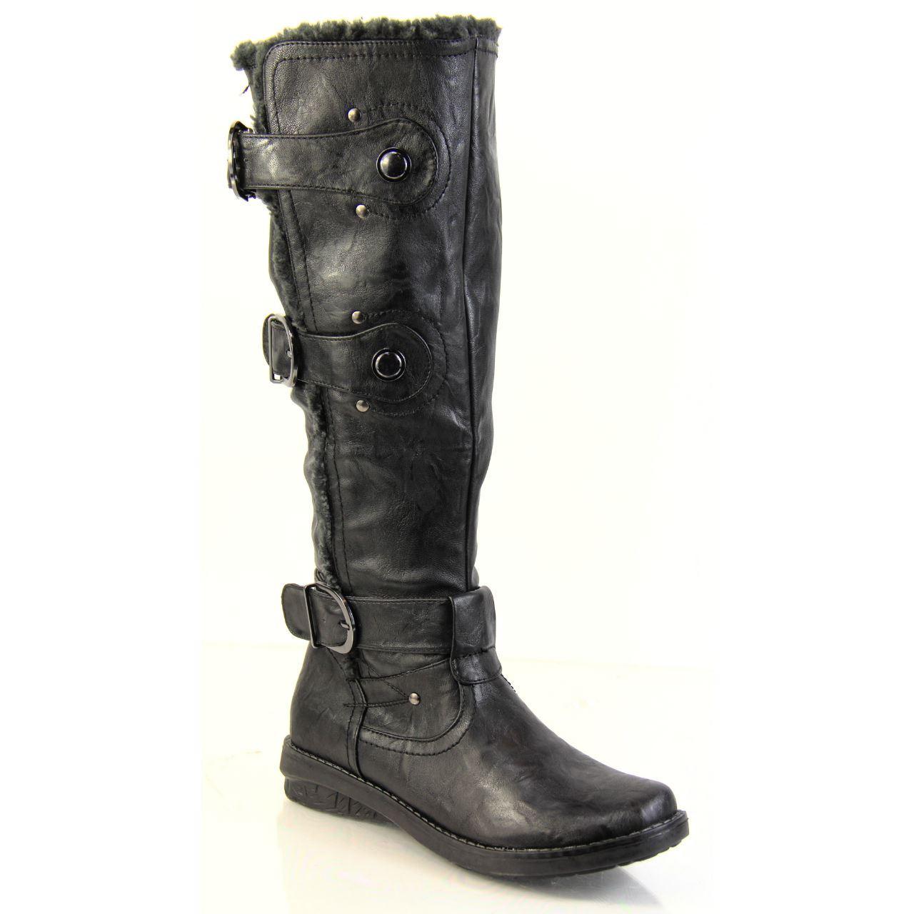 Femme femme zippé en simili cuir mode bottes mi-mollet boucle doublure en fourrure synthétique