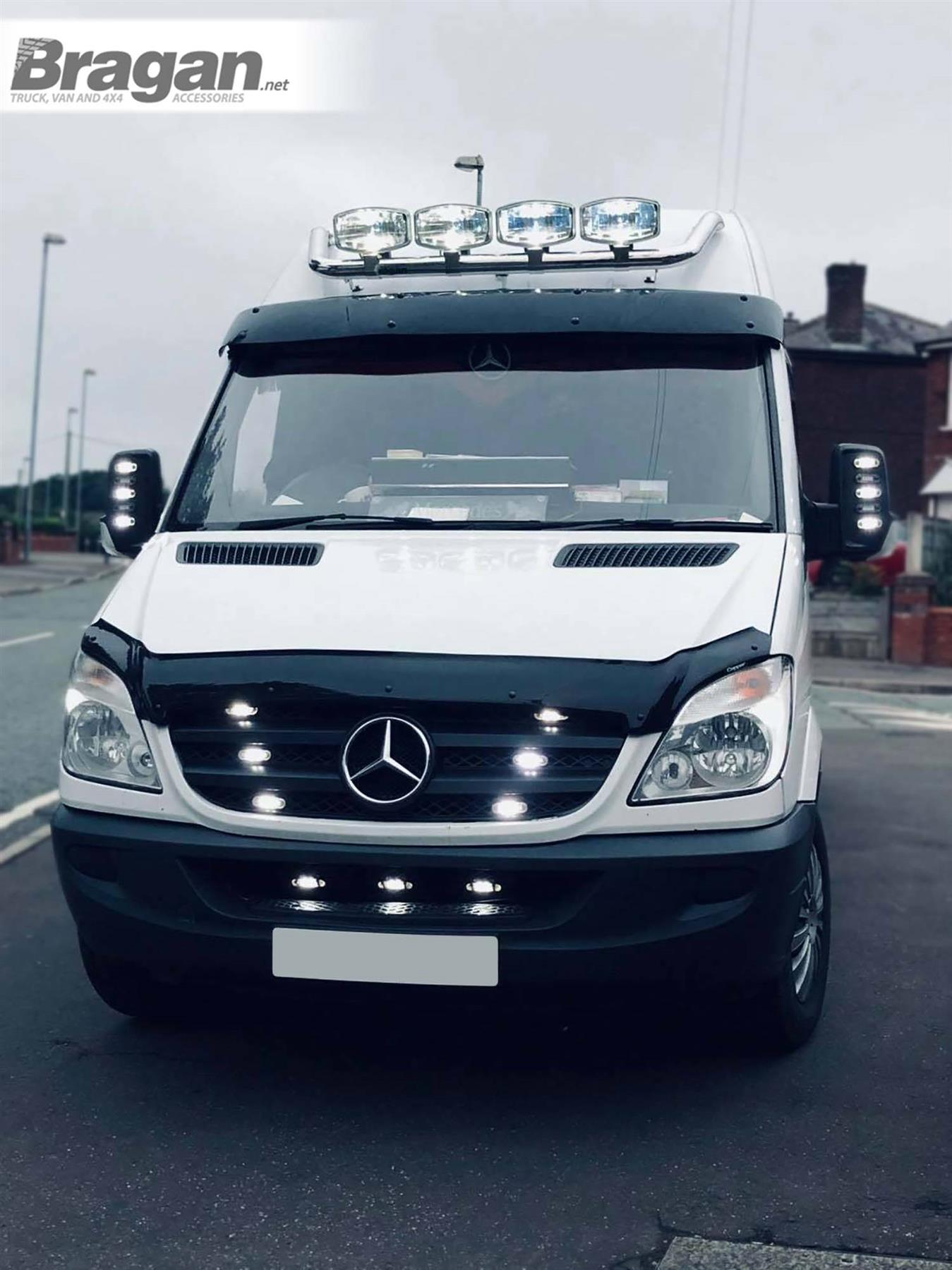 TO FIT 14-18 MERCEDES SPRINTER Stainless Chrome Front Medium High Roof Light Bar