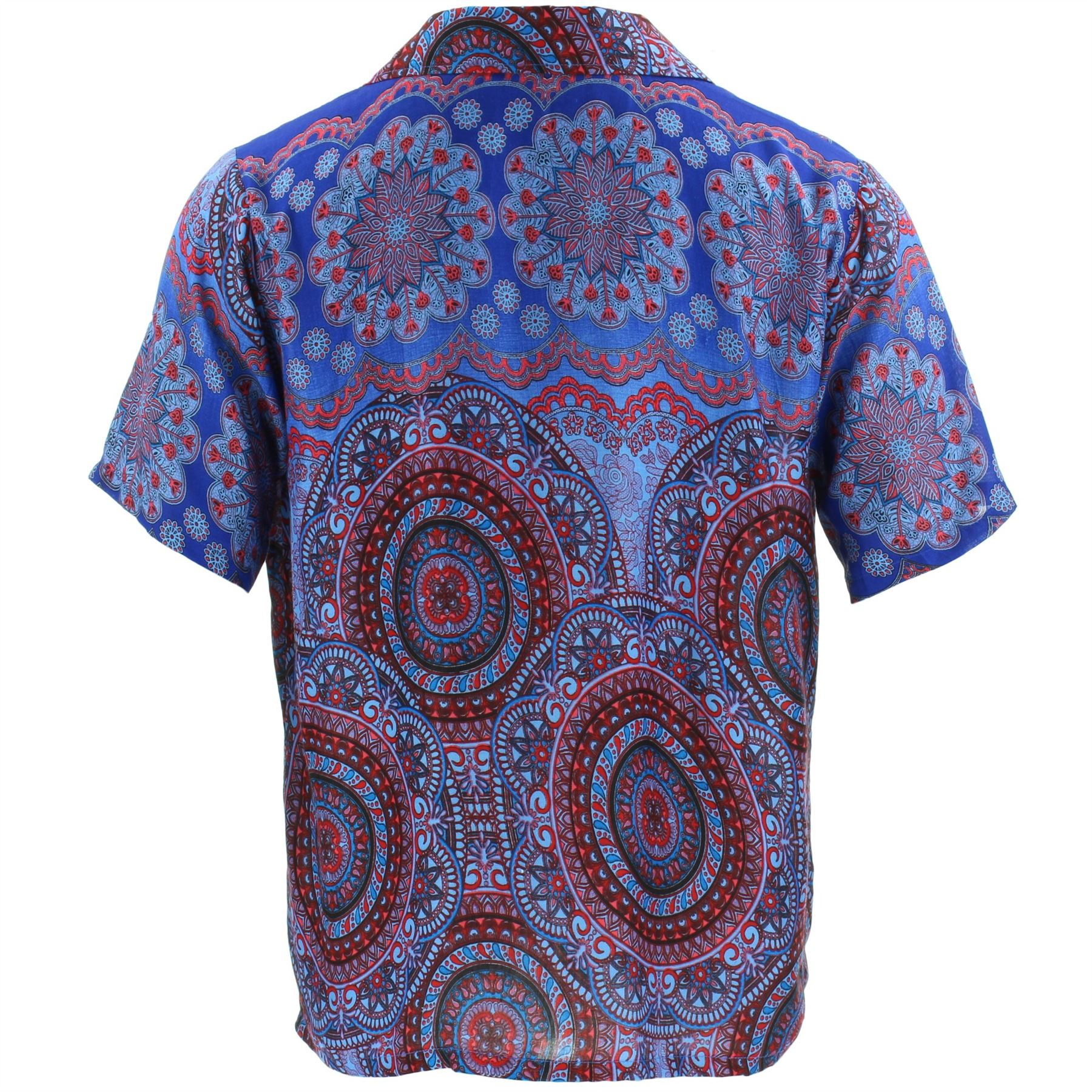 Shirt Mens Short Sleeve Hawaiian Mandala Boho Circle Siesta Party