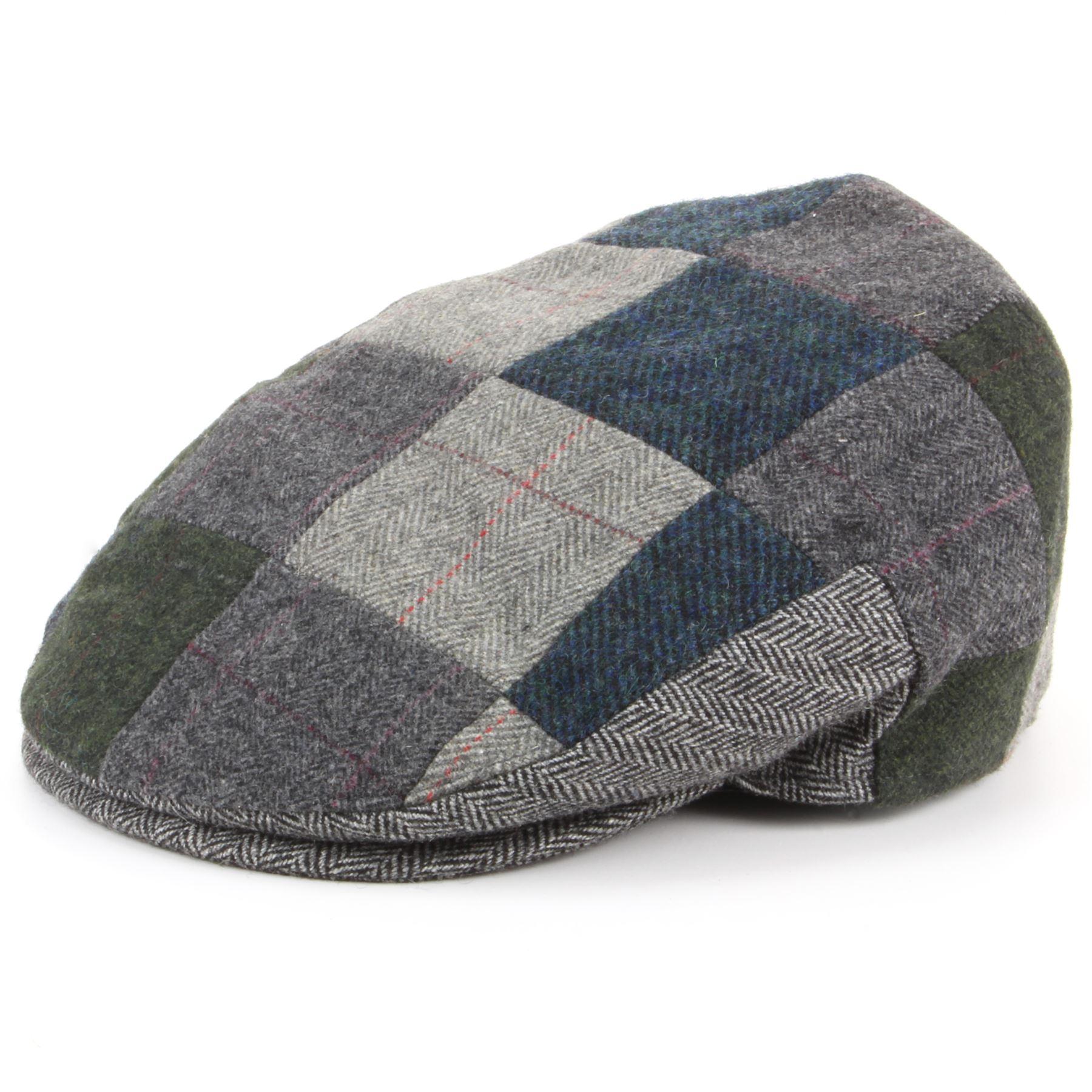 Hat Patchwork Tweed Flat Cap Blue Brown New Winter Hunting Walking Warm