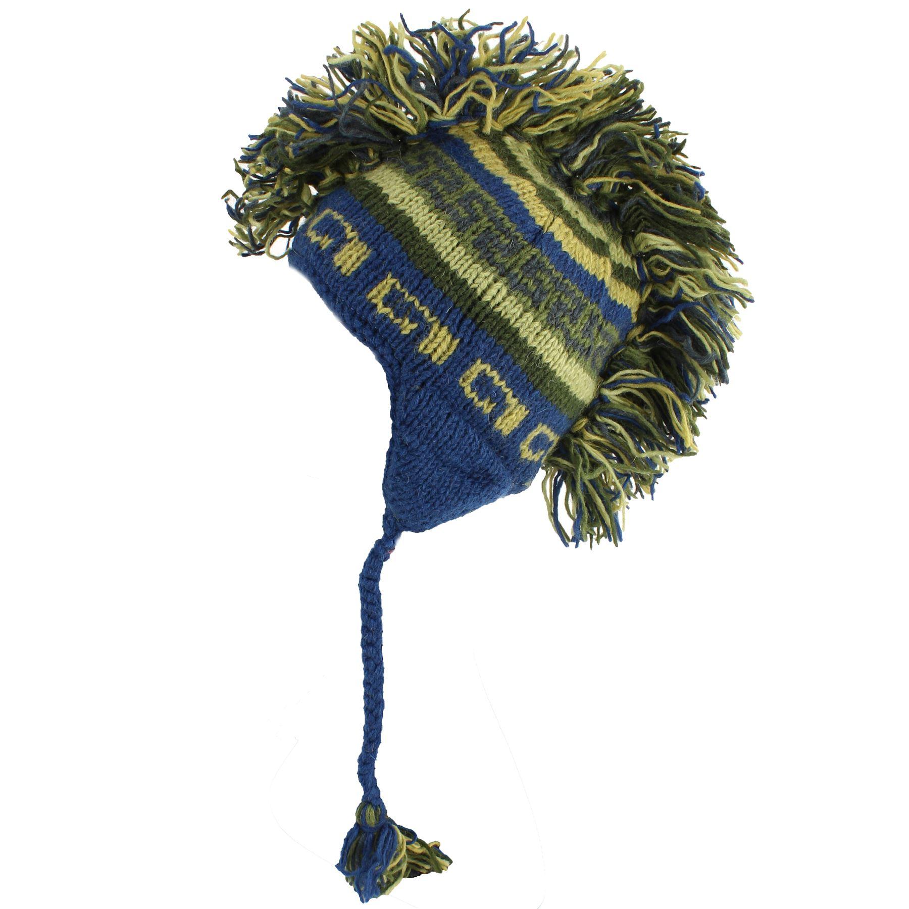 MOHAWK PUNK HAT WOOL HIPPIE FESTIVAL EARFLAP BEANIE FLEECE LINED BLUE /& GREEN