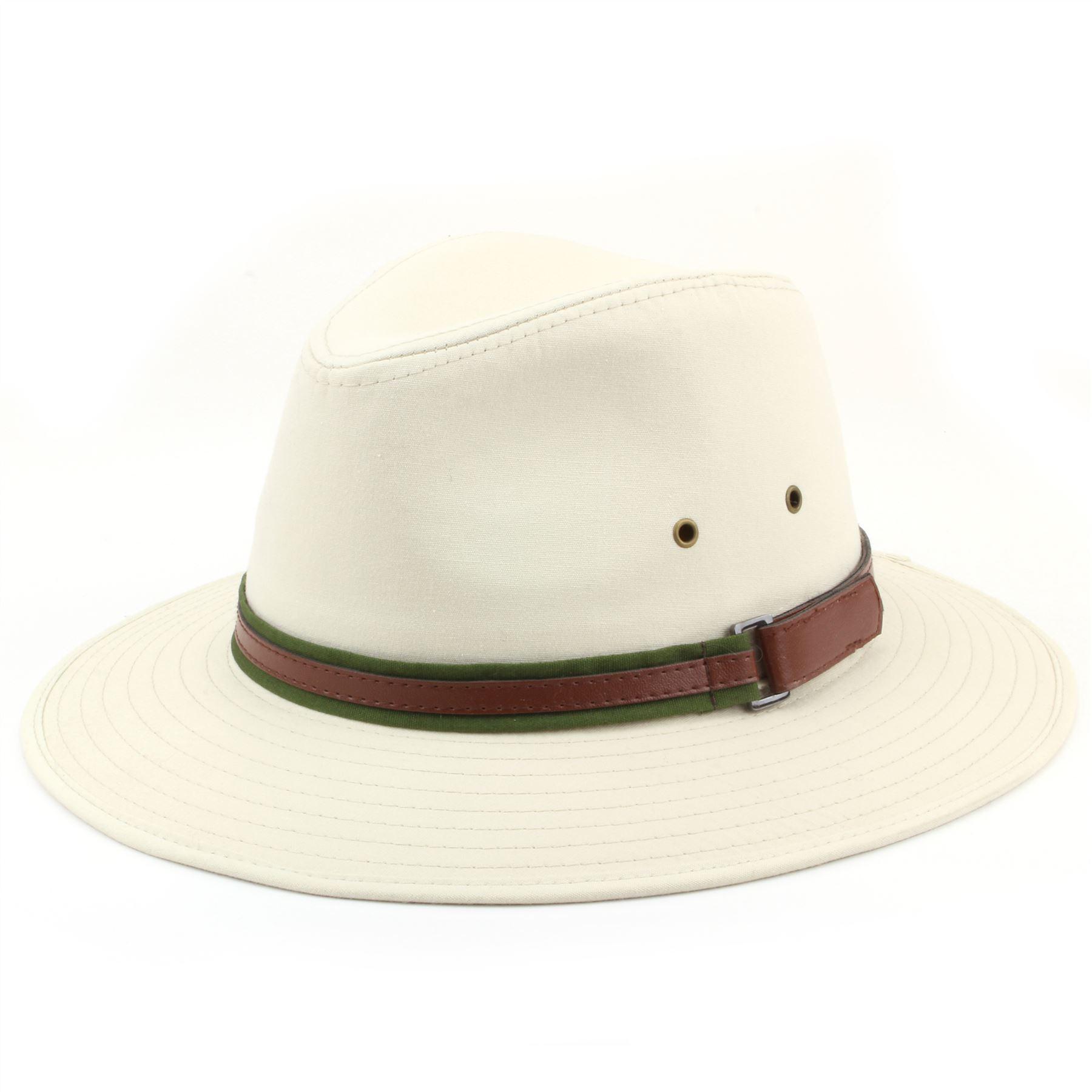 Fedora Cappello Di Cotone Hawkins tesa larga banda Beige Bianco 4 Taglie BORSALINO