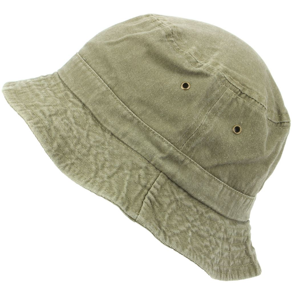Pre-washed Bucket Hat Distressed Denim Blue Green Beige Summer