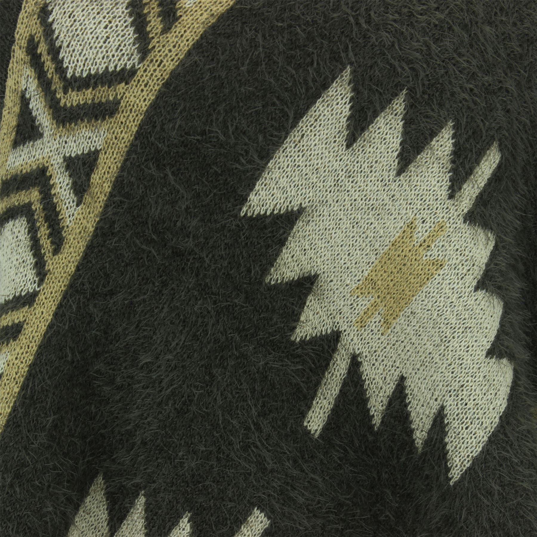 Poncho Mantello Azteco Lavorato a Maglia Scialle Wrap Boho Boemia invernale donna