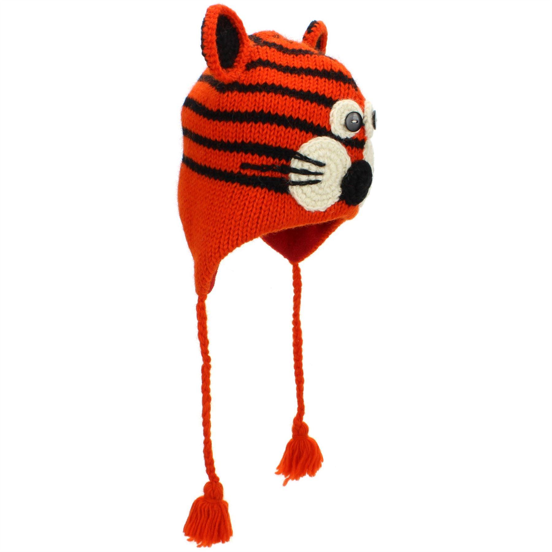 Animal De Lana Sombrero de Lana Forrada Unisex Tejido Abrigado de Invierno Mono Tigre Fox