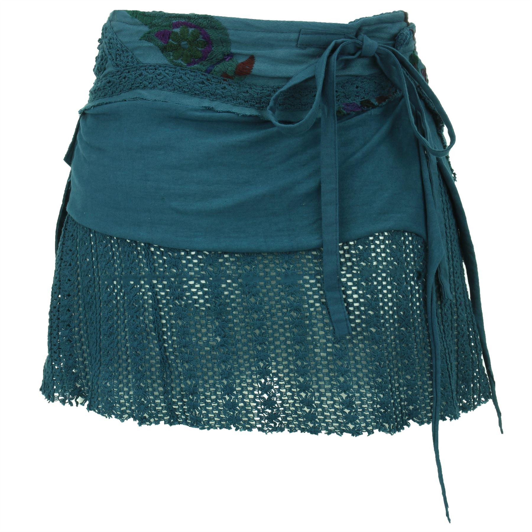 Short Layered Wrap Skirt Gringo Boho Hippie Bohemian Hook Loop Women