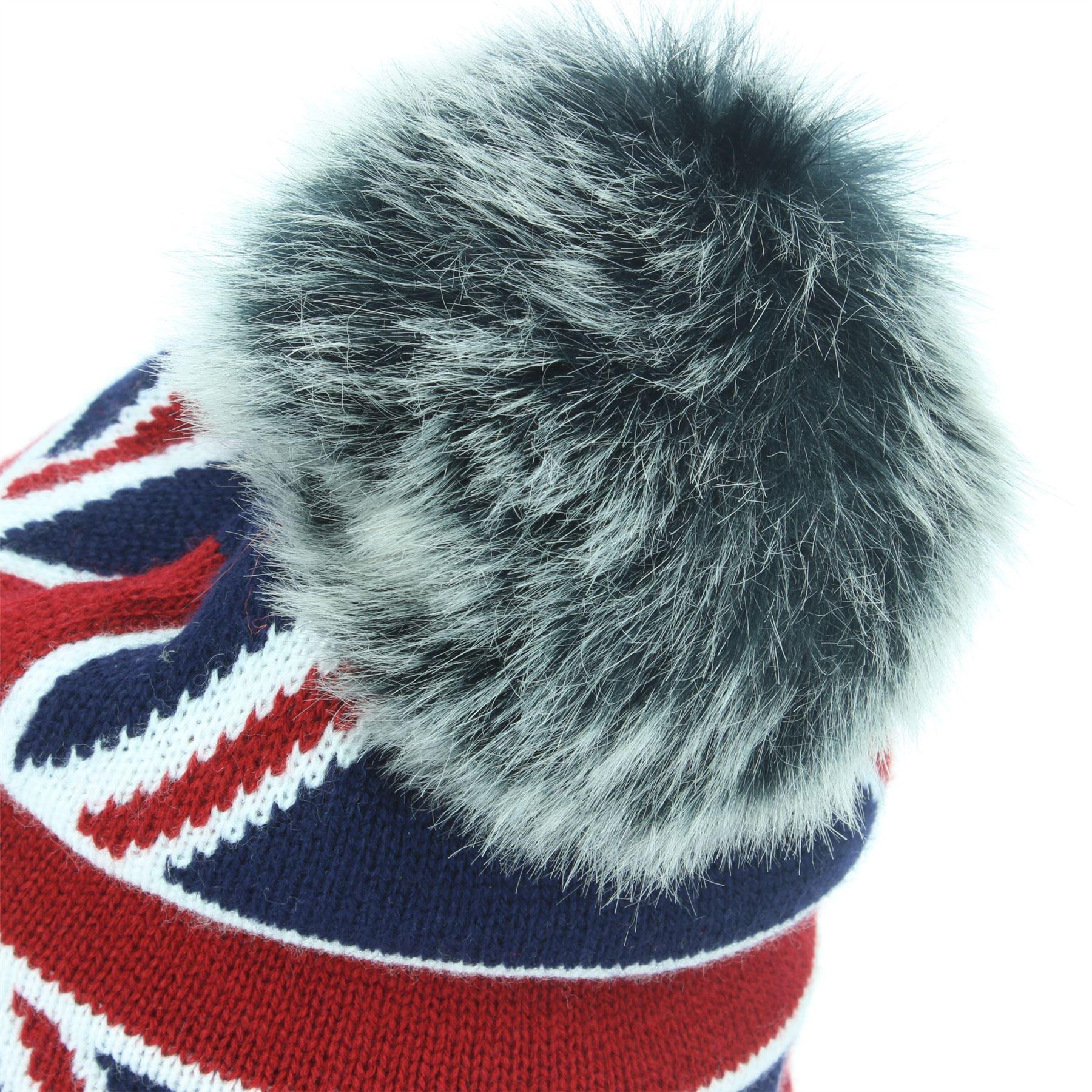 Beanie Hat Cap Fur Bobble Caldo Inverno Union Jack Macahel Soft Fodera Uomo Donna
