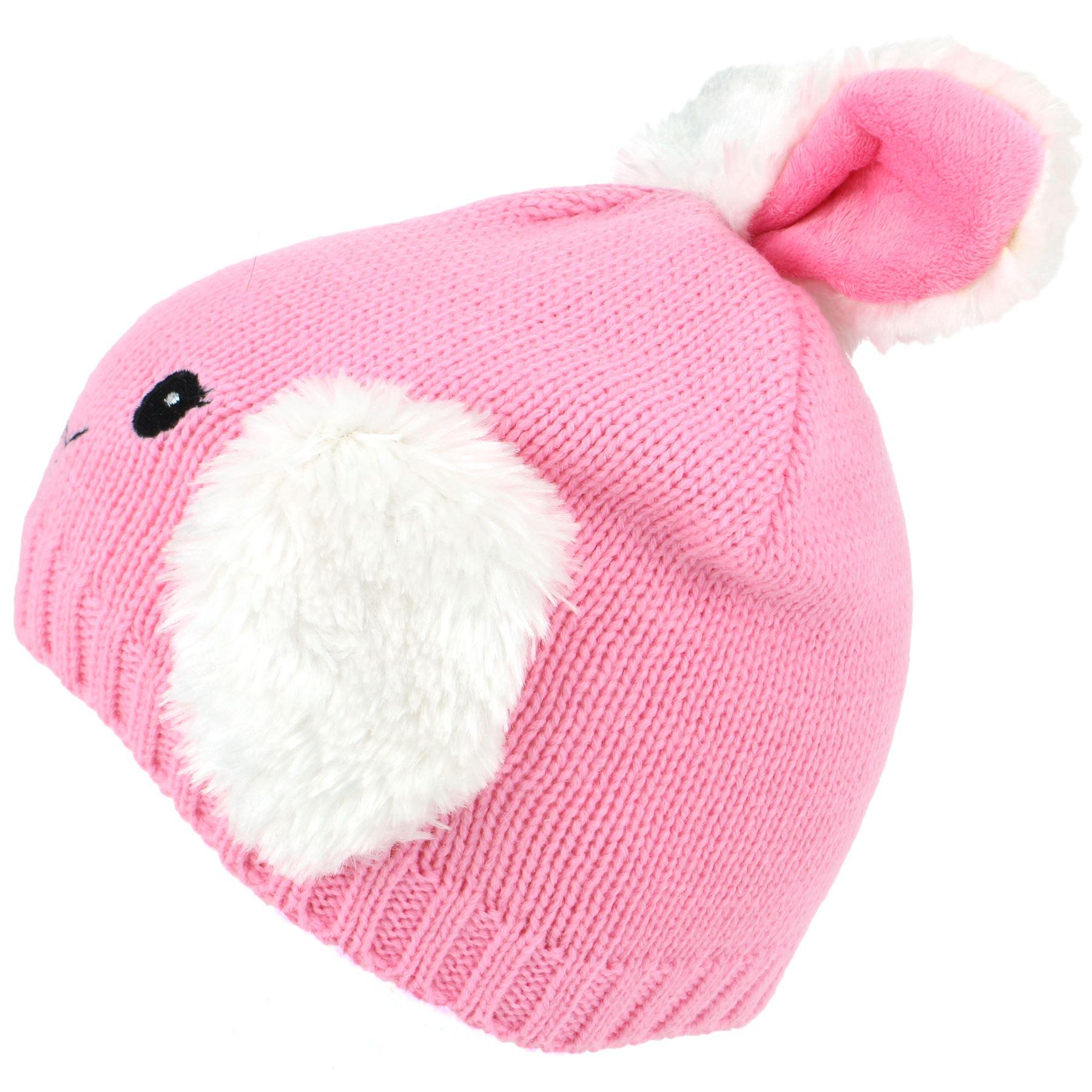 Beanie Hat Cap Animal Fox Rabbit Childrens Faux Furry Jiglz Unisex Winter Warm