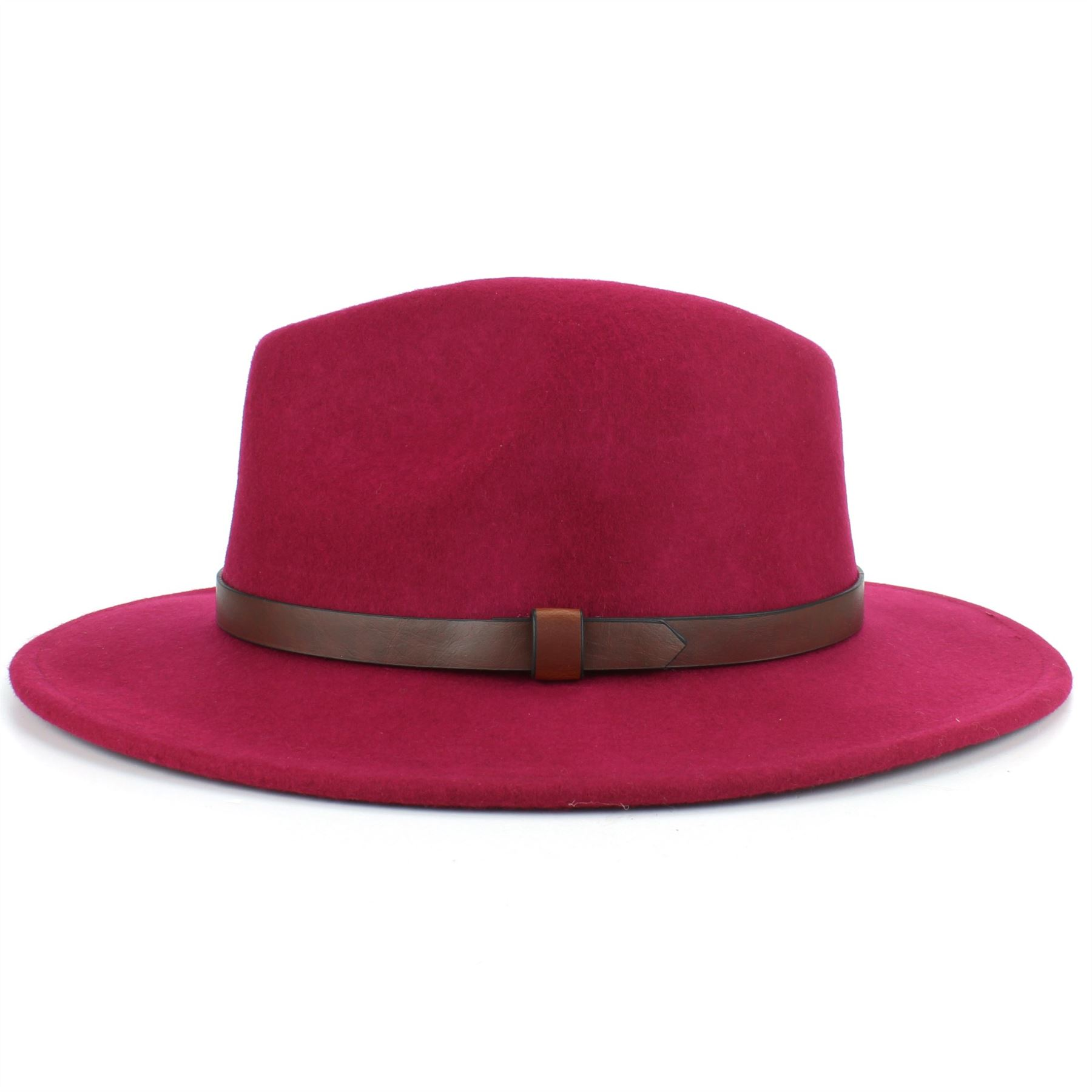 Fedora Hat Wool Felt Hawkins Feather Band Trilby Ladies Men Travel Brim Travel