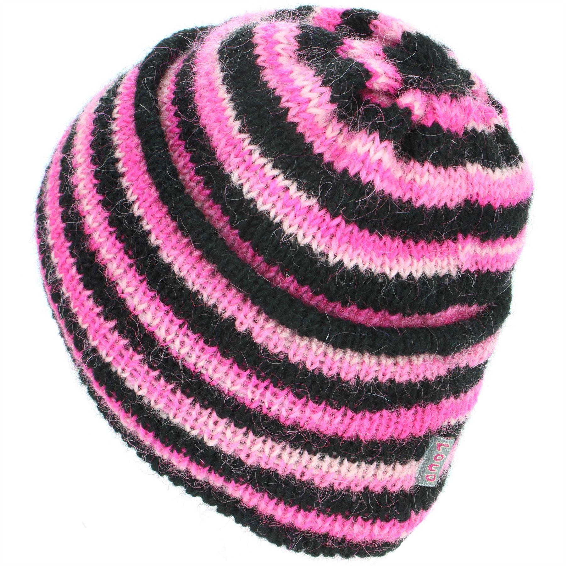 Wool Beanie Hat Cap Warm Winter Fleece Lined LoudElephant RAINBOW Knit Ski