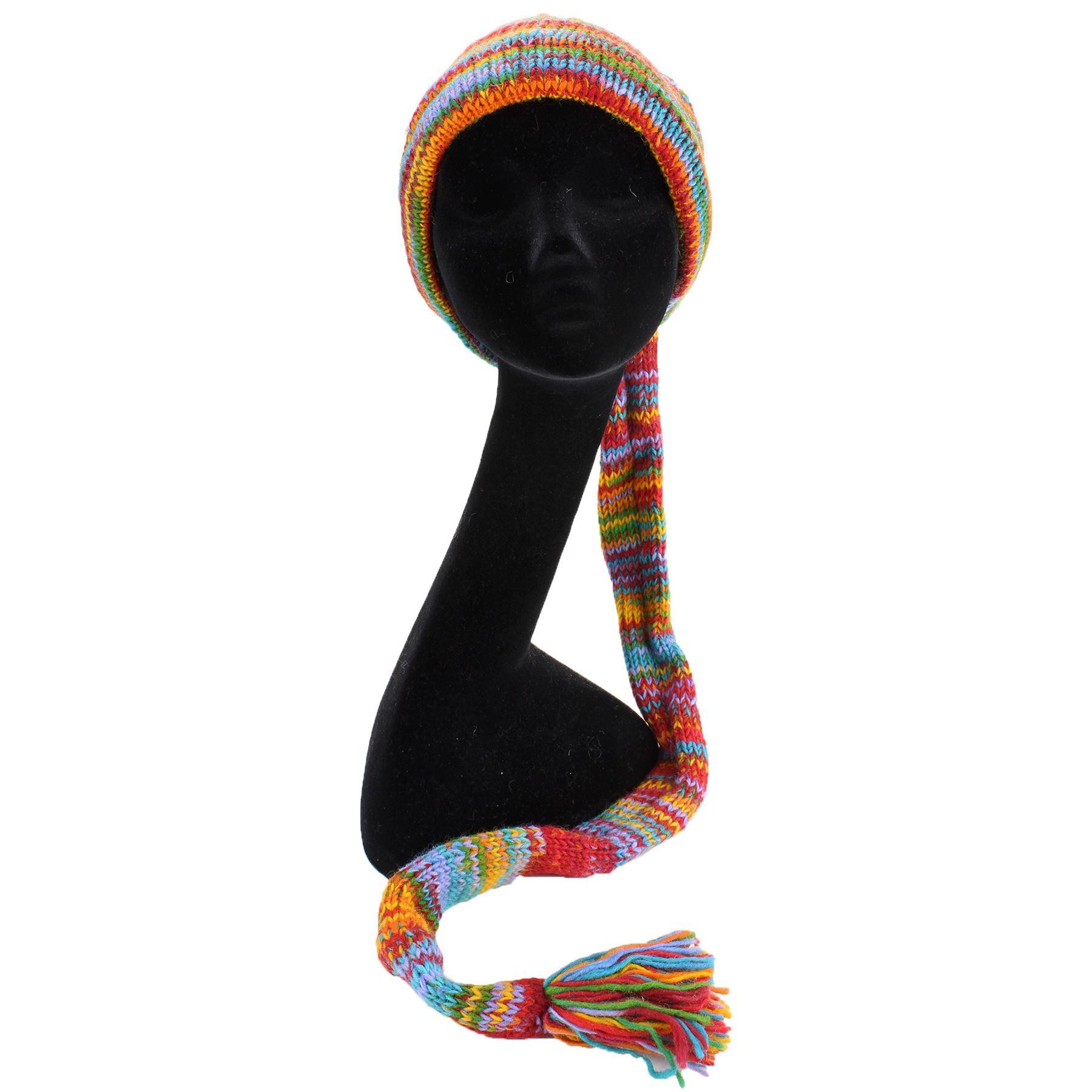 Laine Tricot Queue Hat Hippy Festival Slouch Beanie Space Dye doublées en polaire