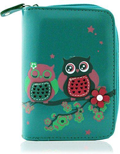 KukuBird Owl Couple On Branches Pattern Medium Ladies Purse Clutch Wallet