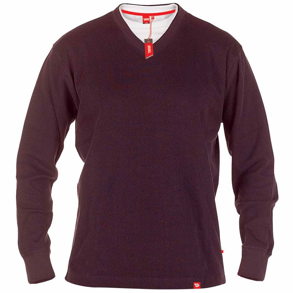 D555 Hommes Big Taille French Rib Superposé Col V Haut//Pull