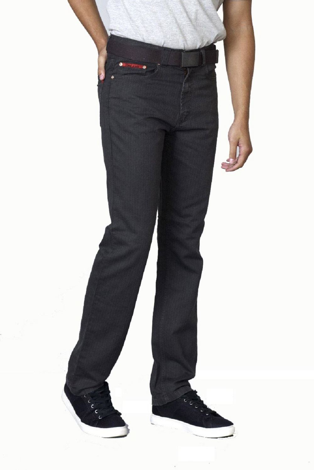 Duke London Mens Big Size Bedford Cord Enzyme Washed Jeans Canary in Charcoal