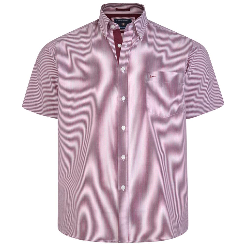 6164 KAM Mens Big Size City Stripe Shirt With Button Down Collar